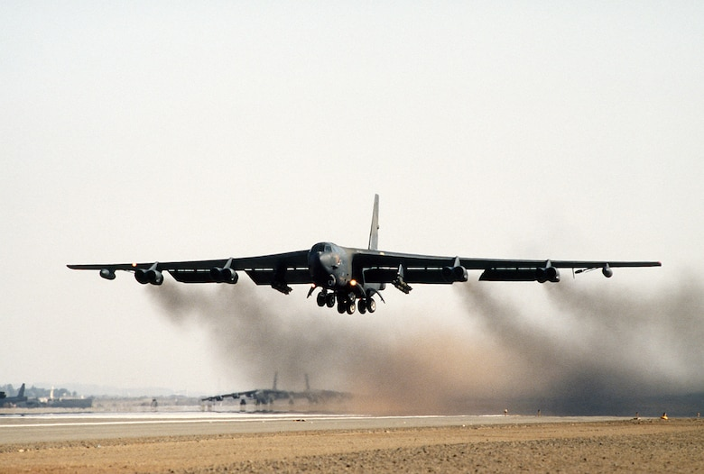 A B-52G Stratofortress of the 1708th Bomb Wing takes off on a mission during Operation Desert Storm. (Courtesy photo)
