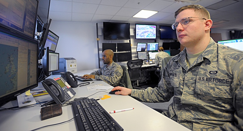 Airman 1st Class Benjamin Harrison, 21st Operational Weather Squadron weather forecaster, monitors the weather patterns for northern Europe Feb. 22, 2016, at Kapaun Air Station, Germany. Working with weather flights at various locations, the 21st OWS provides weather intelligence for Department of Defense operations throughout the U.S. European Command and U.S. Africa Command areas of responsibility. (U.S. Air Force photo/Staff Sgt. Timothy Moore)