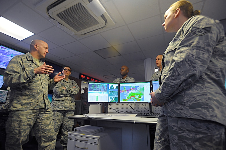 Col. Gerald Donohue, 86th Operations Group commander, speaks to Airmen of the 21st Operational Weather Squadron during a tour of the squadron Feb. 22, 2016, at Kapaun Air Station, Germany. Donohue and Chief Master Sgt. Amber Mitchell, 86th OG superintendent, toured the 21st OWS to learn about the capabilities they provide not only to Ramstein Air Base but to all Department of Defense operations within the U.S. European Command and U.S. Africa Command's areas of responsibility. (U.S. Air Force photo/Staff Sgt. Timothy Moore)