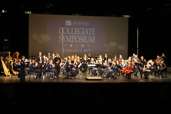 Members of the 2015 Collegiate Symposium are recognized during the final portion of the weekend's activities, a live concert with the Concert Band, given at Bowie Center for the Performing Arts in Bowie, Maryland, February 9, 2015. (U.S. Air Force photo by Technical Sgt. Matthew Shipes/released)