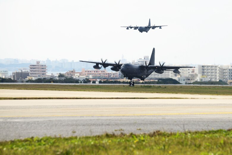 A U.S. Air Force MC-130J Command II's assigned to the 17th Special Operations Squadron lands at Kadena Air Base, Japan Feb. 17, 2016. The 17th SOS conducted a unit-wide training exercise which tasked the entire squadron with a quick-reaction, full-force sortie involving a five-ship formation flight, cargo drops, short runway landings and takeoffs, and helicopter air-to-air refueling.   (U.S. Air Force photo by Tech. Sgt. Kristine Dreyer, 353rd SOG PA/Released)