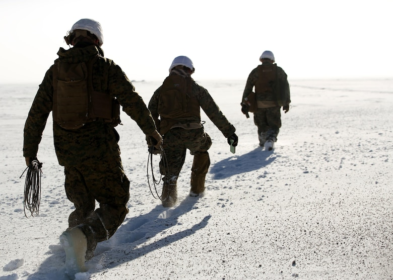 Marines with 2nd Explosive Ordnance Disposal Company, Combat Logistics Battalion 252 walk onto a range to set up and prime explosives in Rena, Norway, Feb. 22, 2016, in preparation for Exercise Cold Response 2016. The exercise will include 12 NATO allies and partner nations, and approximately 16,000 troops. Marines will train alongside Norwegian EOD specialists to see how they operate in order to become more proficient at working with each other in the future.