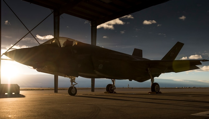 An F-35A Lightning II parks for the night under the sunshades at Mountain Home Air Force Base, Idaho, Feb. 18, 2016. The F-35s' combat capabilities are being tested through an operational deployment test at Mountain Home AFB range complexes. (U.S. Air Force photo/Senior Airman Jeremy L. Mosier)