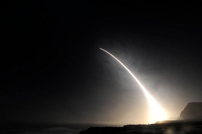 An unarmed LGM-30G Minuteman III intercontinental ballistic missile launches during an operational test Feb. 20, 2016, at Vandenberg Air Force Base, Calif. (U.S. Air Force Photo/Michael Peterson)
