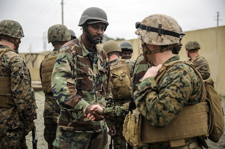 A Marine with Combat Logistics Battalion 2 from a Theater Security Cooperation team shakes hands and greets a role-player at the Infantry Immersion Trainer on Camp Lejeune, N.C., Feb. 23, 2016. Marines with the battalion practiced the type of training they would provide to a partner African military force in preparation for Special Purpose Marine Air-Ground Task Force-Crisis Response-Africa. (U.S. Marine Corps photo taken by Cpl. Alexander Mitchell/released)