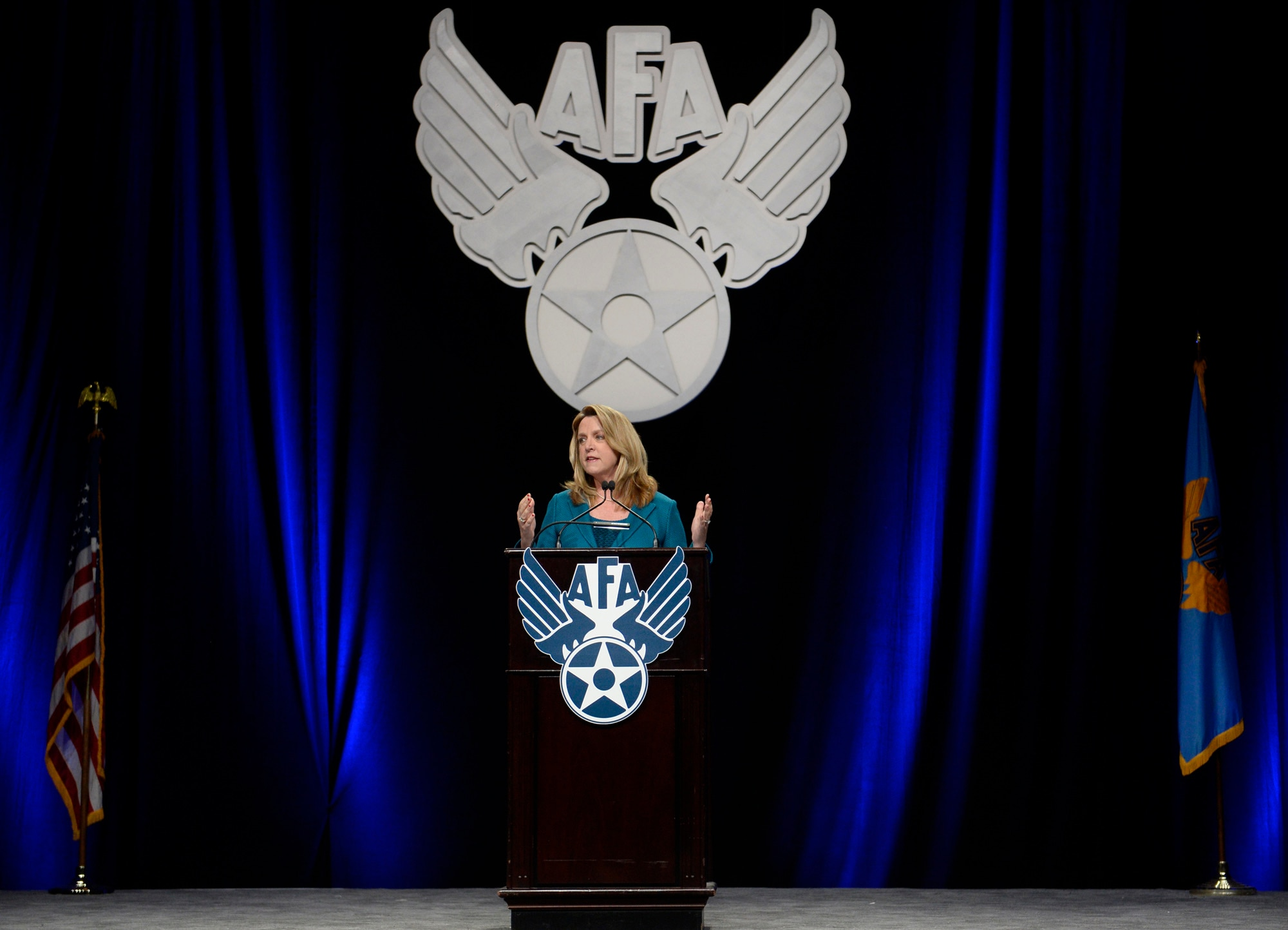 """Secretary of the Air Force Deborah Lee James gives her """"State of the Force"""" presentation during Air Force Association's Air Warfare Symposium in Orlando, Fla., Feb. 26, 2016. (U.S. Air Force photo/Scott M. Ash)"""