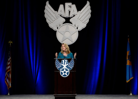 "Secretary of the Air Force Deborah Lee James gives her ""State of the Force"" presentation during Air Force Association's Air Warfare Symposium in Orlando, Fla., Feb. 26, 2016. (U.S. Air Force photo/Scott M. Ash)"