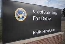 Fort Detrick officials opened the new Nallin Farm Gate to the workforce and public on Friday, April 10. The long-awaited opening added a modern entrance to the garrison that is experiencing growth in its missions. The U.S. Army Corps of Engineers, Baltimore District, built the $11 million project that includes a state-of-the-art installation entry control point, a design that meets current anti-terrorism/force protection standards, and a new visitor control center.