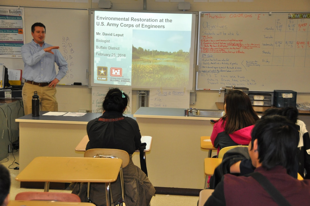 U.S. Army Corps of Engineers (USACE), Buffalo District Biologist David Leput visited Buffalo public Schools West Hertel Academy, Buffalo, NY to discuss the Regulatory and Civil Works Programs, and to educate students on the science of environmental restoration.
