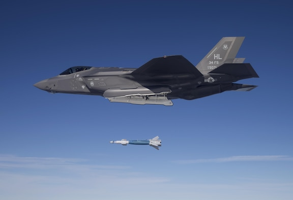 Lt. Col. George Watkins, 34th Fighter Squadron commander, drops a GBU-12 laser-guided bomb from an F-35A at the Utah Test and Training Range Feb. 25, 2016. The 34th Fighter Squadron is the Air Force's first combat unit to employ munitions from the F-35A. (U.S. Air Force photo by Jim Haseltine)