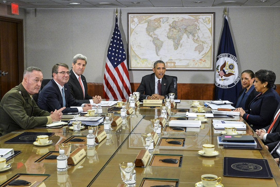 President Barack Obama, center, meets with members of the National Security Council, including Defense Secretary Ash Carter, second from left, Marine Corps Gen. Joe Dunford, left, chairman of the Joint Chiefs of Staff, and Secretary of State John F. Kerry at the State Department in Washington, D.C., Feb. 25, 2016. The members discussed the global campaign to degrade and destroy the Islamic State of Iraq and the Levant. State Department photo
