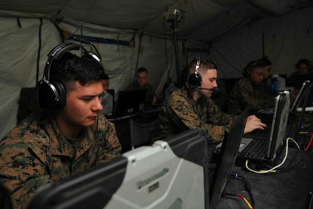 Marines with Marine Air Support Squadron 1 participate in Direct Air Support Center and Tactical Air Command Center Drill 3-16 at Marine Corps Air Station Cherry Point, N.C., Feb. 16, 2016. During the drill, Marines assessed and shaped MASS-1's new Battle Lab application as continuity of operations for the Wing Operations Center. The Battle Lab is capable of providing a dedicated, continuous training system for MASS-1 and Marine Air Command Group 28 that will enable integration between fellow Marine Air Command and Control System agencies. (U.S. Marine Corps photo by Pfc. Nicholas P. Baird/Released)