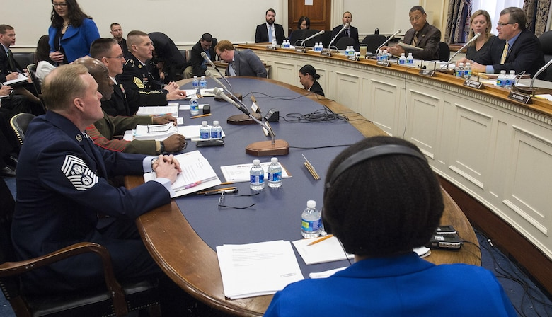 Chief Master Sgt. of the Air Force James A. Cody testifies on Capitol Hill before the House Appropriations Committee's Subcommittee on Military Construction and Veterans Affairs Feb. 26, 2016, in Washington, D.C. The oversight hearing was being held to learn about quality of life in the military concerns from each of the service's senior most enlisted members. During his opening statement Cody stressed the cumulative impacts of sequestered and reduced budgets on the compensation and quality of life of Airmen and their families. Cody stressed that the Airmen who serve today do so freely, proudly and voluntarily because they believe in what America stands for and are ready to defend its cause. He added that our nation must honor that commitment by providing for them and their families. (U.S. Air Force photo/Jim Varhegyi)