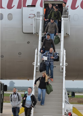 Personnel from Barksdale Air Force Base, La., arrive at Morón Air Base, Spain, Feb. 26, 2016, in preparation for participation in a large-scale NATO military training exercise. These Airmen will support B-52 Stratofortress operations as part of the 2nd Expeditionary Bomb Group during Cold Response 16, this year's Norwegian-led iteration of the biennial exercise. (U.S. Air Force photo/Senior Airman Joseph Raatz)