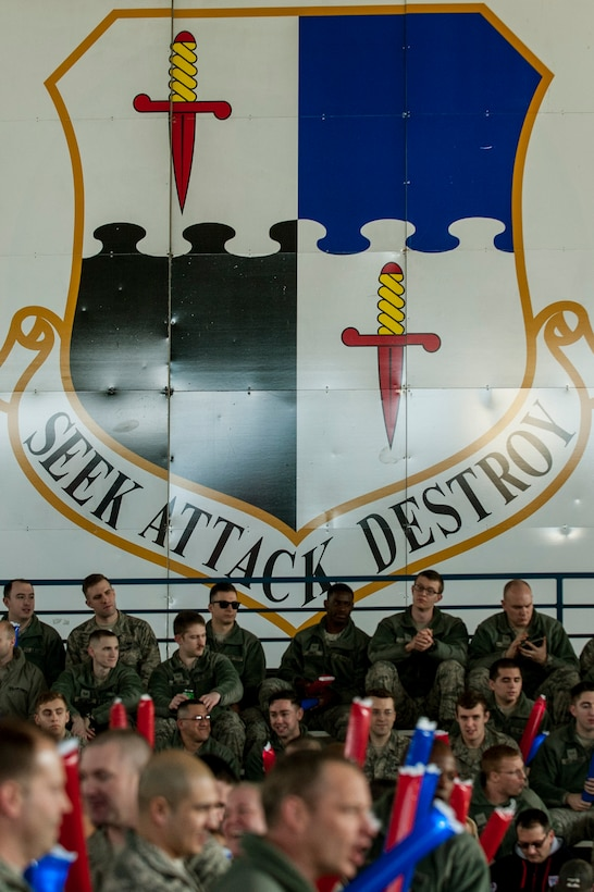 A 52nd Fighter Wing shield is displayed on the door of Hangar 1 during the 2015 Year in Review Pep Rally at Spangdahlem Air Base, Germany, Feb. 25, 2016. The winners will be announced at the 52nd Fighter Wing 2015 Annual Awards Banquet Feb. 26, 2016, at Club Eifel. (U.S. Air Force photo by Senior Airman Rusty Frank/Released)
