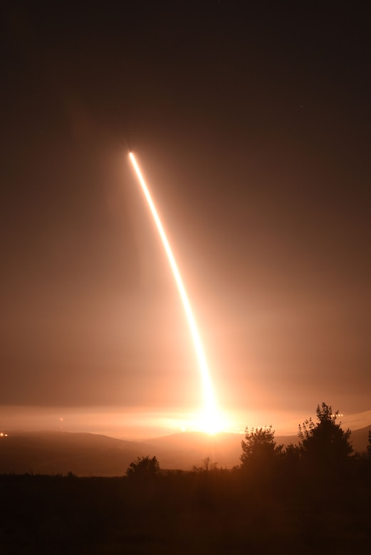 An unarmed Minuteman III intercontinental ballistic missile launches during an operational test at 11:01 p.m. PST here, Feb. 25, 2016. Col. J. Christopher Moss, 30th Space Wing commander, was the launch decision authority (U.S. Air Force photo by Staff Sgt. Jim Araos/Released).