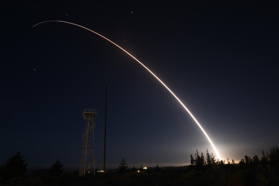 An unarmed Minuteman III intercontinental ballistic missile launches during an operational test at 11:01 p.m. Thursday, Feb. 25, 2016, Vandenberg Air Force Base, Calif. Col. J. Christopher Moss, 30th Space Wing commander, was the launch decision authority. (U.S. Air Force photo by Airman 1st Class Ian Dudley/Released)