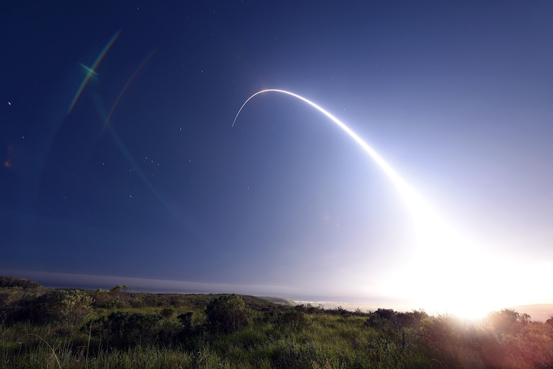 An unarmed Minuteman III intercontinental ballistic missile launches during an operational test at 11:01 p.m. Thursday, Feb. 25, 2016, Vandenberg Air Force Base, Calif. Col. J. Christopher Moss, 30th Space Wing commander, was the launch decision authority. (U.S. Air Force photo by Senior Airman Kyla Gifford/Released)