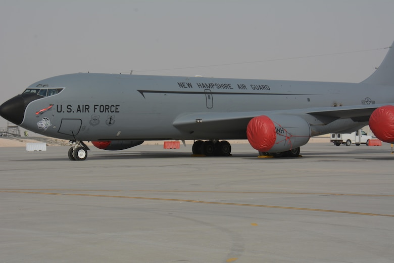 A KC-135 Stratotanker deployed from the 157th Air Refueling Wing in New Hampshire, waits for visitors at the annual Flight Line Fest Jan. 10 at Al Udeid Air Base, Qatar. The KC-135 fleet at AUAB, the largest in the world, flew more than 100,000 combat hours in 2015. The KC-135 was one of five U.S. Air Force aircraft on display during the event. Flight Line Fest is a joint partnership between the 379th Air Expeditionary Wing and Qatar Emiri Air Force held to foster relations between Qatar and the United States. (U.S. Air Force photo by Tech. Sgt. James Hodgman/Released)