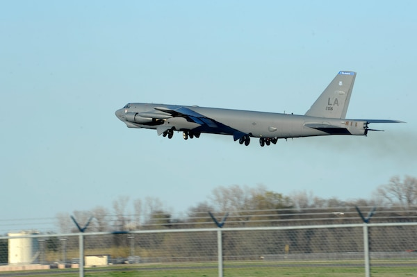 A B-52 Stratofortress takes off from Barksdale Air Force Base, La., Feb. 26, 2016, headed to Moron Air Base, Spain. During the short-term deployment, three of the multi-role heavy bombers and more than 200 Airmen assigned to the 2nd Bomb Wing will integrate and train with U.S. European Command components and regional allies and partners by participating in the Norwegian exercise Cold Response. U.S. Strategic Command (USSTRATCOM) and Air Force Global Strike Command routinely and visibly demonstrate the U.S. commitment to our allies and partners, as well as global security, through joint and international training exercises such as these. One of nine DoD unified combatant commands, USSTRATCOM has global strategic missions, assigned through the Unified Command Plan, which include strategic deterrence; space operations; cyberspace operations; joint electronic warfare; global strike; missile defense; intelligence, surveillance and reconnaissance; combating weapons of mass destruction; and analysis and targeting. (U.S. Air Force photo by Staff Sgt. Joseph Pagan)