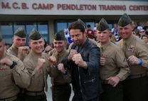 Gerard Butler visits Camp Pendleton to showcase his new movie London has Fallen at the Base Theatre aboard Camp Pendleton, Feb. 26, 2016. Camp Pendleton Marines also demonstrated Marine Corps Martial Arts Program techniques for Butler. (Marine Corps Photo by Pfc. Emmanuel Necoechea/RELEASED)