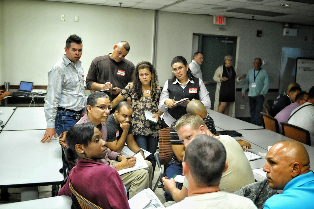 During a three day course, 32 Soldiers from the 1st Mission Support Command, participated in ACE-SI and ASIST training at the 1st MSC Headquarters, Fort Buchanan, PR, Feb. 23-25. (US Army Photo by Spc. Anthony Martinez)
