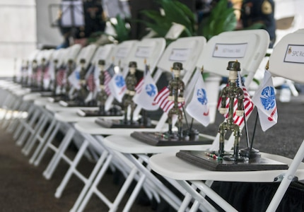 Miniaturized monuments, dedicated to the 13 Soldiers of the 14th Quartermaster Detachment who lost their lives in a scud missile attack during Operation Desert Storm, stand present during the memorial service for the 25th anniversary in Greensburg, Pa., Feb. 25, 2016. (U.S. Army photo by Staff Sgt. Dalton Smith/Released)