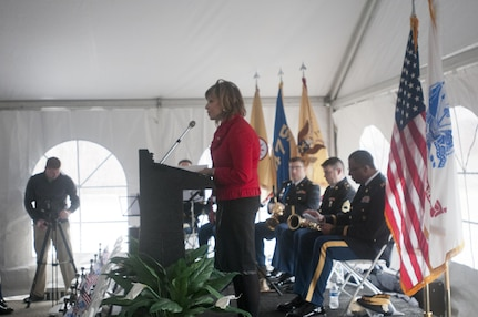 Councilwoman Kathleen McCormick, from the city of Greensburg, Pa., addresses assembled family members and Soldiers of the 14th Quartermaster Detachment, based in Greensburg, Feb. 25, 2016. The memorial was for the 25th anniversary of the scud missile attack on the 14th Quartermaster Detachment during Operation Desert Storm. (U.S. Army photo by Staff Sgt. Dalton Smith/Released)