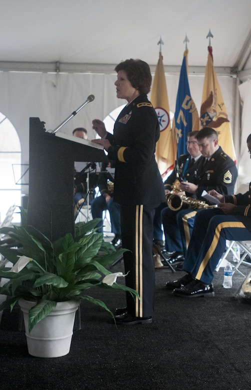 Maj. Gen. Margaret W. Boor, commanding general of the 99th Regional Support Command, addresses assembled family members and Soldiers of the 14th Quartermaster Detachment in Greensburg, Pa., Feb. 25, 2016. The memorial was for the 25th anniversary of the scud missile attack on the 14th Quartermaster Detachment during Operation Desert Storm. (U.S. Army photo by Staff Sgt. Dalton Smith/Released)