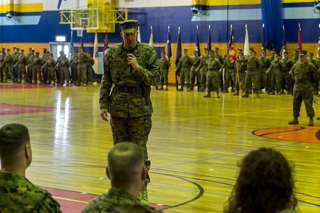 Sgt. Maj. Coleman Kinzer, outbound Headquarters and Headquarters Squadron sergeant major, addresses the audience during his relief and appointment ceremony at Marine Corps Air Station Iwakuni, Japan, Feb. 26, 2016. Kinzer relinquished his duties as H&HS sergeant major to Sgt. Maj. Darnell Richardson. Kinzer is slated to become the sergeant major at Marine Light Attack Helicopter Squadron 367, MCAS Kaneohe Bay, Hawaii.