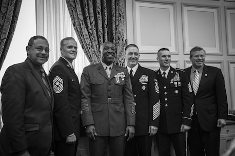 The 18th Sergeant Major of the Marine Corps, Ronald L. Green, delivers his testimony on Capitol Hill, Washington D.C., Feb. 26, 2016. Alongside other Service Chiefs, Sgt. Maj. Green testified on quality of life issues within the military before the Committee on Appropriations, Military Construction, U.S. House of Representatives. (U.S. Marine Corps photo by Sgt. Melissa Marnell, Office of the Sergeant Major of the Marine Corps/Released)