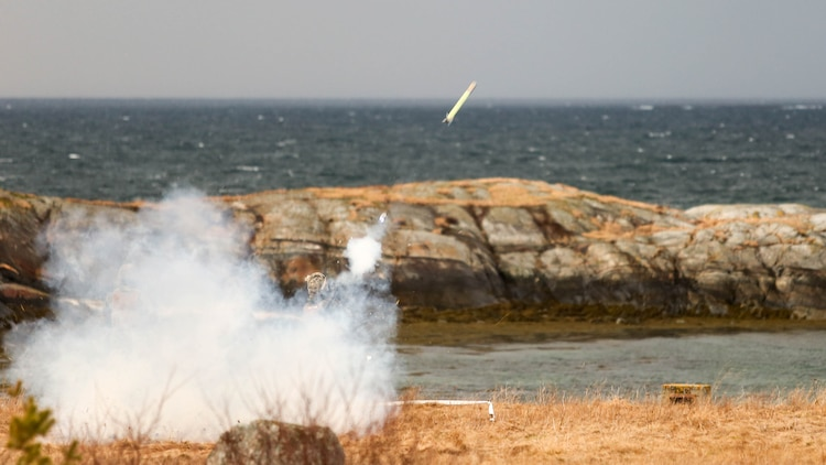 A U.S. Marine Corps Stinger missile prepares to ignite its flight motor as it's launched during a live-fire event in Ørland, Norway, Feb. 24, 2016. During this event, the Marines and the Norwegian military worked side-by-side as they took to the firing line to put their equipment to the test. The live-fire event was held in preparation for Exercise Cold Response 16, featuring 12 NATO allies and partner nations and approximately 16,000 troops.