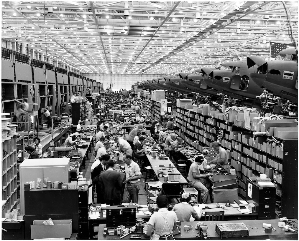 Stockroom at the Long Beach, Calif., plant of Douglas Aircraft Company.