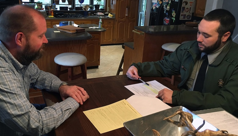 Natural resource specialist, Dylon Anderson meets with an adjacent landowner on March 16, 2016 to discuss his minor shoreline license on Old Hickory Lake.