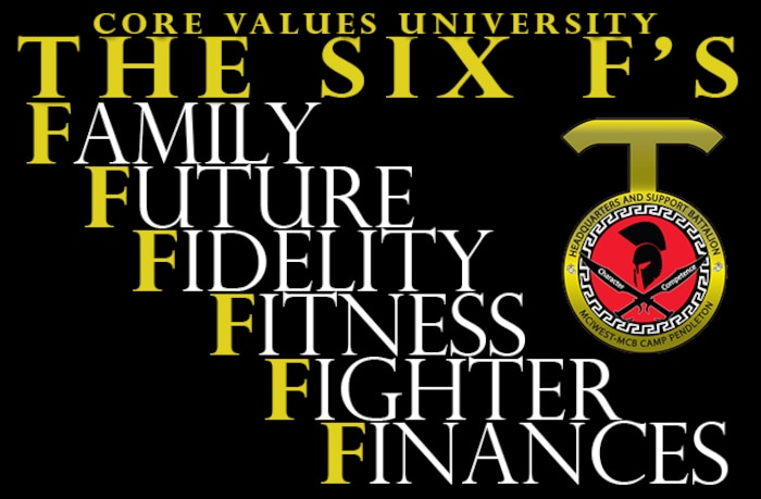 CVU breaks the resources down into six areas: fidelity, fighter, fitness, family, finances and future. Each area has a list of classes and resources, some even go a step further by providing childcare which allows Marines to attend during off-hour times and with their spouses.