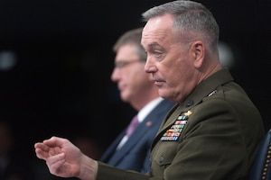 Marine Corps Gen. Joseph F. Dunford Jr., chairman of the Joint Chiefs of Staff, and Defense Secretary Ash Carter hold a news conference at the Pentagon, Feb. 29, 2016, to discuss progress against the Islamic State of Iraq and the Levant and lessons learned in Afghanistan.