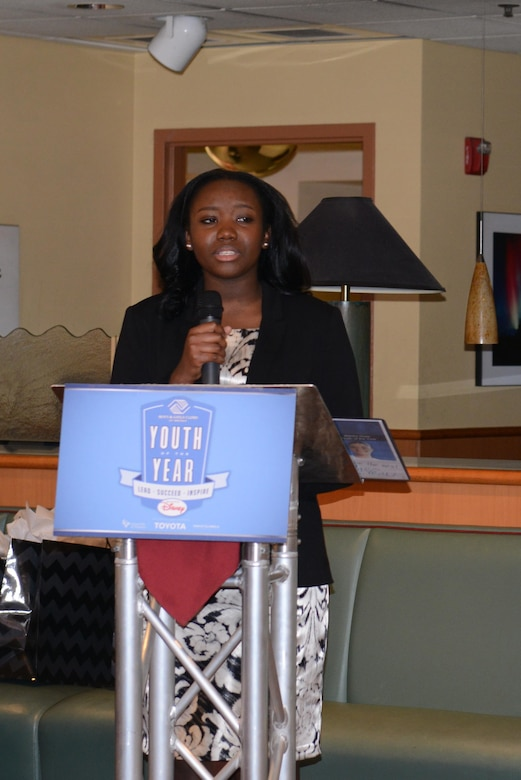 MiKaila Alexander, a senior at Ben Eielson High School, gives a speech during the 2016 Alaska Youth of the Year ceremony at the Westmark Hotel, Feb. 20, 2016, in Fairbanks, Alaska. Alexander won the Military Youth of the Year scholarship for the second year in a row and will compete at the next regional level this summer. (U.S. Air Force photo by Staff Sgt. Ashley Nicole Taylor/Released)