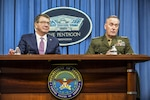 Defense Secretary Ash Carter and Marine Corps Gen. Joseph F. Dunford Jr., chairman of the Joint Chiefs of Staff, brief reporters at the Pentagon, Feb. 29, 2016. DoD photo by Army Sgt. 1st Class Clydell Kinchen