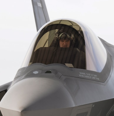 Maj. Ethan Sabin, 31st Test and Evaluation Squadron assistant director of operations, prepares to taxi to the end of the runway for take-off at Mountain Home Air Force Base, Idaho, Feb. 12, 2016. The 31st TES from Edwards AFB, Calif., is part of the 53rd Wing at Eglin AFB, Fla., which tests, evaluates, and delivers effective and sustainable combat capabilities to perfect lethality and survivability of the nation's combat forces. (U.S. Air Force photo by Airman 1st Class Jessica H. Evans/RELEASED)