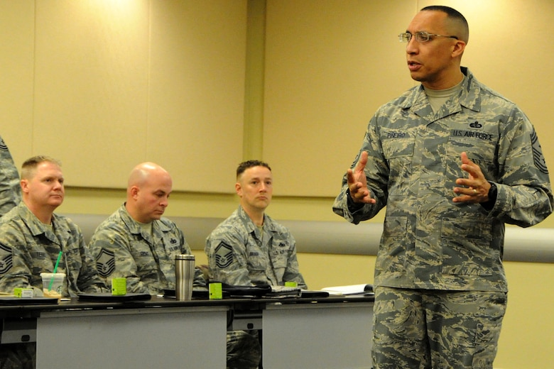 Air Force District of Washington First Sergeant Chief Master Sgt. Manny Pineiro speaks to the newest chief master sergeants from the National Capital Region during the AFDW's Chief Orientation Course at Joint Base Andrews, Md., Feb. 29, 2016. Key Air Force leaders addressed the group reminding them of the increased responsibility they now have for their Airmen and the force. (U.S. Air Force photo/Tech. Sgt. Matt Davis)