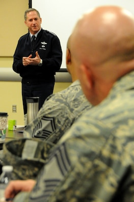 Air Force Vice Chief of Staff Gen. David L. Goldfein speaks to the newest chief master sergeants from the National Capital Region during the Air Force District of Washington's Chief Orientation Course at Joint Base Andrews, Md., Feb. 29, 2016. Key Air Force leaders addressed the group reminding them of the increased responsibility they now have for their Airmen and the force. (U.S. Air Force photo/Tech. Sgt. Matt Davis)