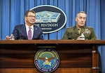 Defense Secretary Ash Carter and Marine Corps Gen. Joseph F. Dunford Jr., chairman of the Joint Chiefs of Staff, brief reporters at the Pentagon, Feb. 29, 2016. (DoD photo by Army Sgt. 1st Class Clydell Kinchen)