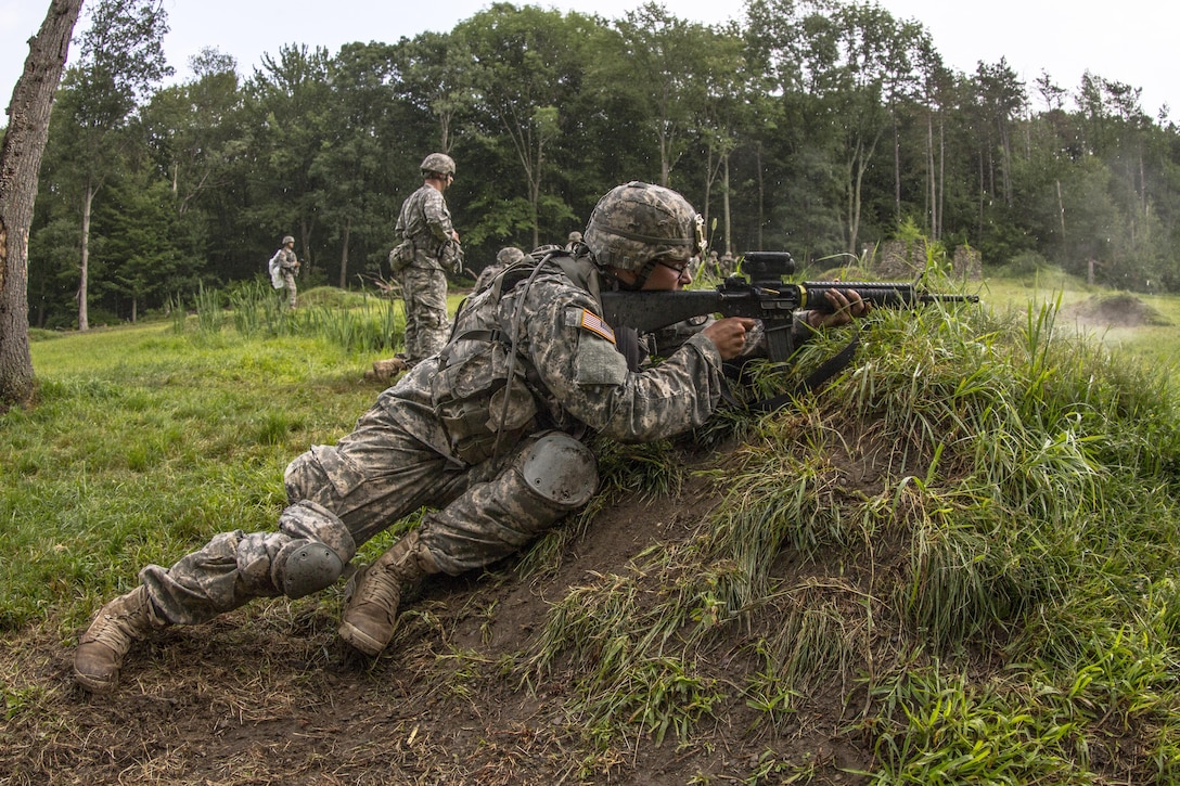 New cadets at the United States Military Academy at West Point, N.Y., fire at targets downrange during the live fire exercise during the Cadet Summer Training exercise July 27, 2015. (U.S. Army photo by Sgt. 1st Class Brian Hamilton)