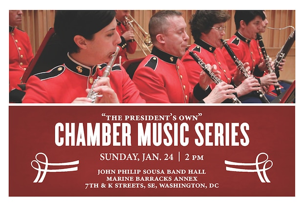 "January 24, 2015 at 2 p.m. EST - Coordinated by trumpeter/cornetist Staff Sgt. James McClarty, this concert will feature several different ensembles formed by members of ""The President's Own,"" and will include the world première of Overture for Euphoniums and Tubas by Marine Band clarinetist Staff Sgt. Parker Gaims. The concert will held at John Philip Sousa Hall at the Marine Barracks Annex in Washington, D.C. and is free with no tickets required. The concert will be streamed live at www.marineband.marines.mil."