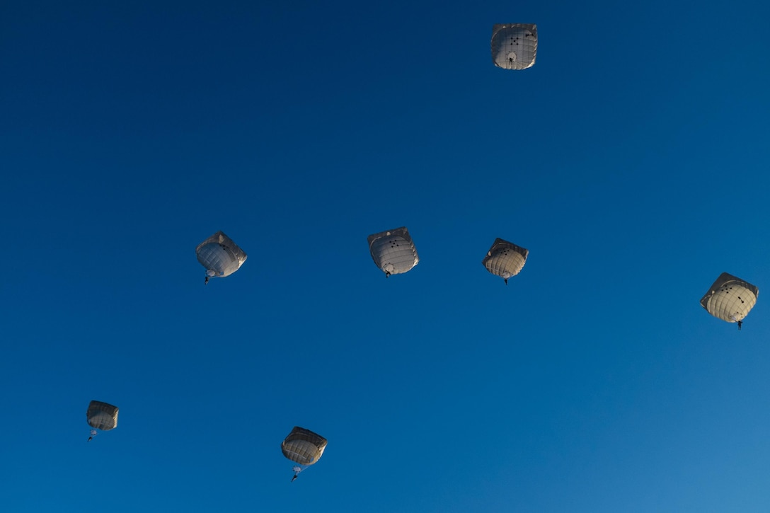 U.S. Army paratroopers fill the sky at Sicily Drop Zone for the 18th Annual Randy Oler Memorial Operation Toy Drop, hosted by U.S. Army Civil Affairs & Psychological Operations Command (Airborne), Dec. 5, 2015, at Fort Bragg, N.C. Operation Toy Drop is the world's largest combined airborne operation and allows Soldiers the opportunity to help children in need everywhere receive toys for the holidays. (U.S. Army photo by Timothy L. Hale/Released)