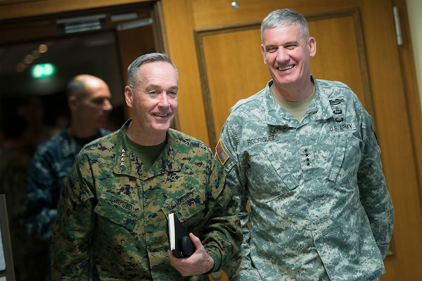 U.S. Marine Corps Gen. Joseph F. Dunford Jr., left, chairman of the Joint Chiefs of Staff, meets with U.S. Army Gen. David M. Rodriguez, commander, U.S. Africa Command, at Africom headquarters in Stuttgart, Germany, Jan. 4, 2016. DoD photo by Navy Petty Officer 2nd Class Dominique A. Pineiro