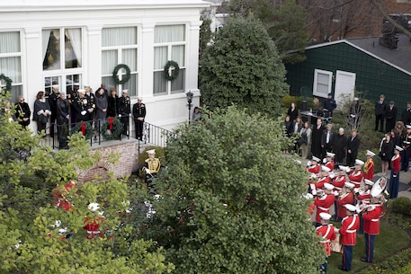 The U.S. Marine Band performs the annual New Year's Day serenade at Home of the Commandants, Marine Barracks Washington, D.C., Jan. 1, 2016. The serenade is a tradition that has been kept since the days of the Civil War. (Official U.S. Marine Corps Photo by Cpl. Chi Nguyen/Released)