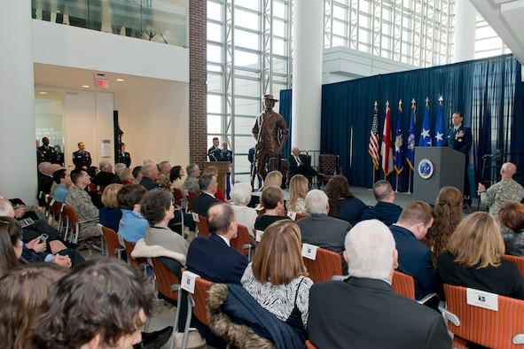 Lt. Gen. Stanley E. Clarke III, director of the Air National Guard, speaks to attendees during his retirement ceremony at the ANG Readiness Center, Joint Base Andrews, Md., December 18. 2015. Clarke is the 15th director of the Air National Guard. (Air National Guard photo by Master Sgt. Marvin R. Preston/Released)