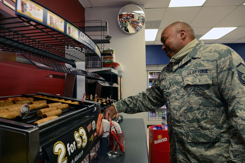 U.S. Air Force Master Sgt. Rodney Chaplin, an aerospace ground equipment technician with the 169th Maintenance Squadron, shops at the Base Exchange on McEntire Joint National Guard Base, S.C., Jan. 5, 2016. The BX offers a variety of options for their customers while also contributing to the community. (U.S. Air National Guard photo by Airman Megan Floyd/Released)