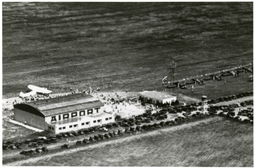 The official opening of the San Angelo airport on Jan. 24th,1929 brought civil and military aviation to the city, as student pilots from Kelly and Brooks Fields in San Antonio often used the airport during cross-country training. The old airport lay southeast of the city along San Antonio Highway, across from the present site of Lawnhaven cemetery. (Courtesy photo used with permission)
